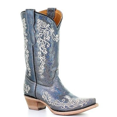 Corral Teens Blue Glitter Inlay & White Embroidery Western Boots T0028