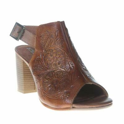 Roper Ladies Tan Tooled Leather Open Toe Mule Sandals 09-021-0946-1276