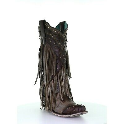 Corral Ladies Turquoise Overlay & Studs & Fringe Snip Toe Boots A3846