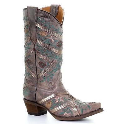 Corral Teens Brown & Multicolor Floral Embroidery Cowgirl Boots T0027