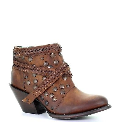 Corral Ladies Chocolate Harness & Studs Shortie Ankle Boots Z0060