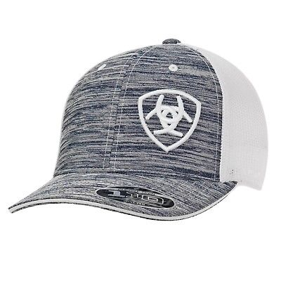 Ariat® Heather Grey & White Logo Embroidered Mesh Snapback Ball Cap 1504905 - Wild West Boot Store