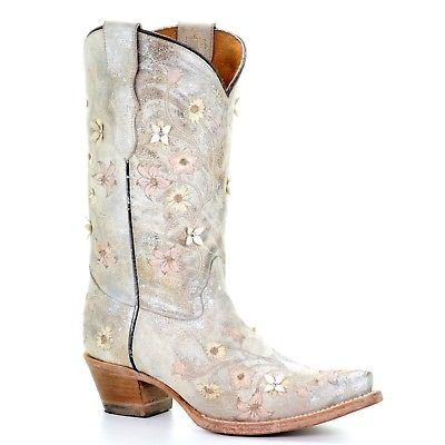 Corral Teens Pearl White Floral Embroidery & Studs Western Boots T0020