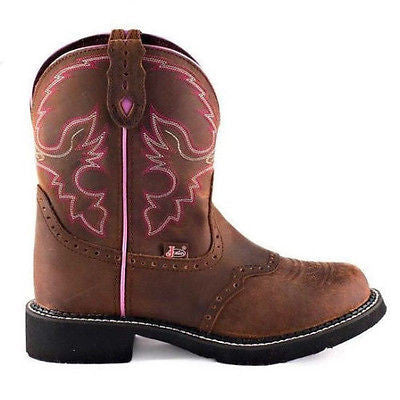 Justin Ladies Gypsy Aged Bark with Pink Piping Boots L9903 - Wild West Boot Store - 2