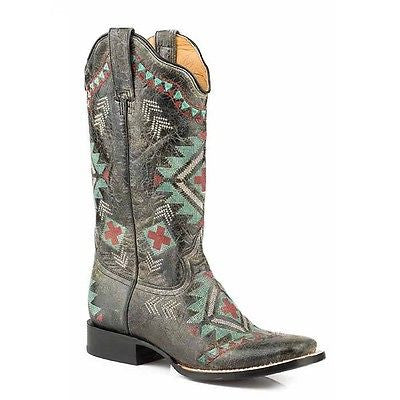Roper Ladies Black Aztec Embroidered Square Toe Boot 09-021-7022-1428 - Wild West Boot Store