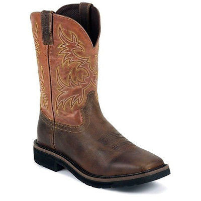 Justin Men S Square Tan Orange Western Work Boot Wk4810