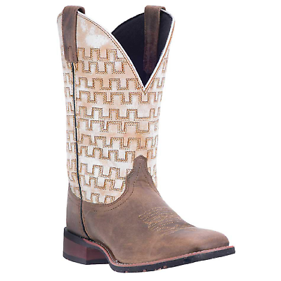 Laredo Men's Sam Sand Brown & White Square Toe Boots 7811 - Wild West Boot Store