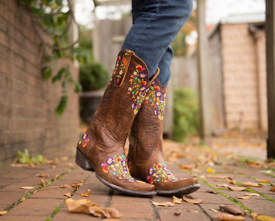 ccf48cb9cfb Old Gringo Sora Brass Floral Embroidery Wide Calf Boots L841-3RF