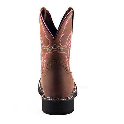 Justin Ladies Gypsy Aged Bark with Pink Piping Boots L9903 - Wild West Boot Store - 3