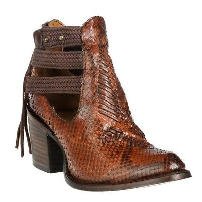 Corral Ladies Brown Python Braided Strap Shortie Booties C3034