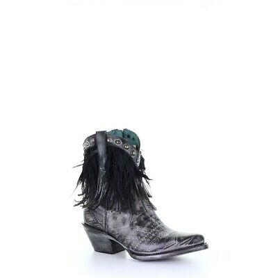 Corral Ladies Black Laser Engraved, Feathers & Studs Ankle Boots Z0073