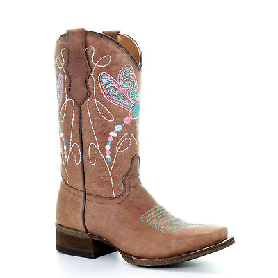 Corral Teens Tan Multicolor Dragonfly Embroidery Cowgirl Boots T0034