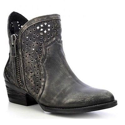 Circle G by Corral Ladies Shortie Black/Grey Cutout Bootie Q0001 - Wild West Boot Store - 1