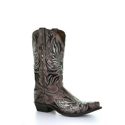 Corral Men's Chocolate Inlay & Embroidery Boots A3871