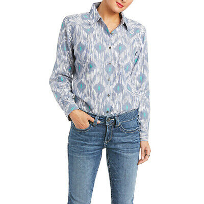 Ariat Ladies Real Billie Jean Chambray Blue Button Up Shirt 10035543