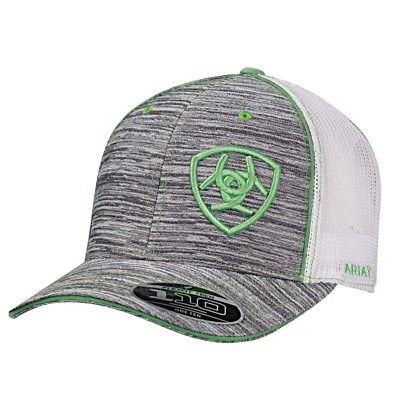 Ariat® Heather Grey & Green Logo Embroidered Mesh Snapback Ball Cap 1504906 - Wild West Boot Store