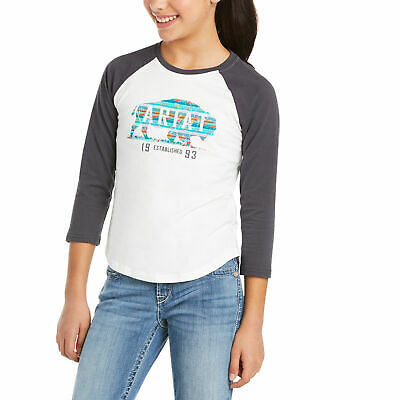 Ariat Childrens Real Plains Quarter Sleeve White T-Shirt 10035260