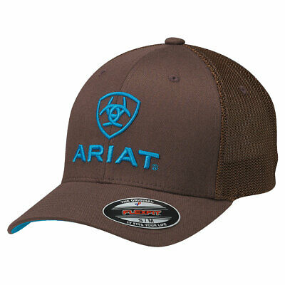 Ariat Brown with Turquoise Logo Mesh Side Flex Fit Ball Cap 1502302