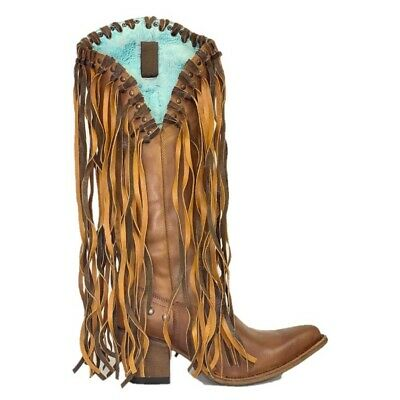 Corral Ladies Maple Fringe & Studded Boots E1466