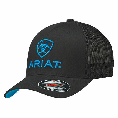 Ariat Black with Turquoise Logo Mesh Side Flex Fit Ball Cap 1502301
