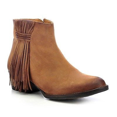 Circle G by Corral Ladies Tan Side Fringe Bootie Q0007 - Wild West Boot Store