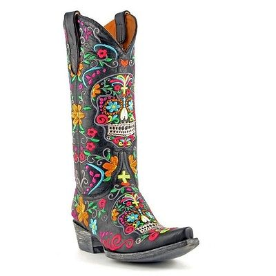 Old Gringo Ladies Black Klak Sugar Skull Relaxed Fit Boots L1300-1RF