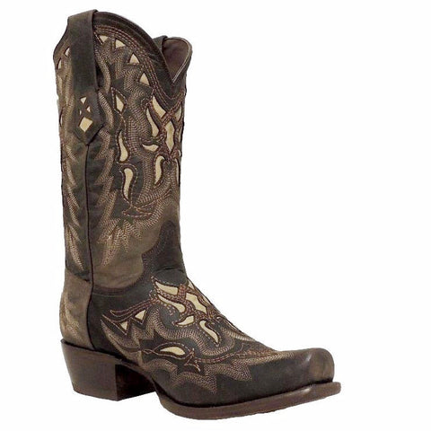 Denver Men's Kevin Dark Brown/Cream Embroidered Boot L3935 - Wild West Boot Store - 1