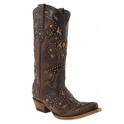 Lucchese Women's Chocolate Studded Scarlet Boots M5015 - Wild West Boot Store - 1