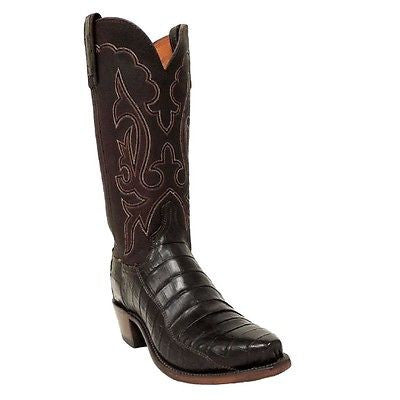 Lucchese Men's Alan Dark Brown Exotic Caiman Tail Boots N9583.54 - Wild West Boot Store - 1