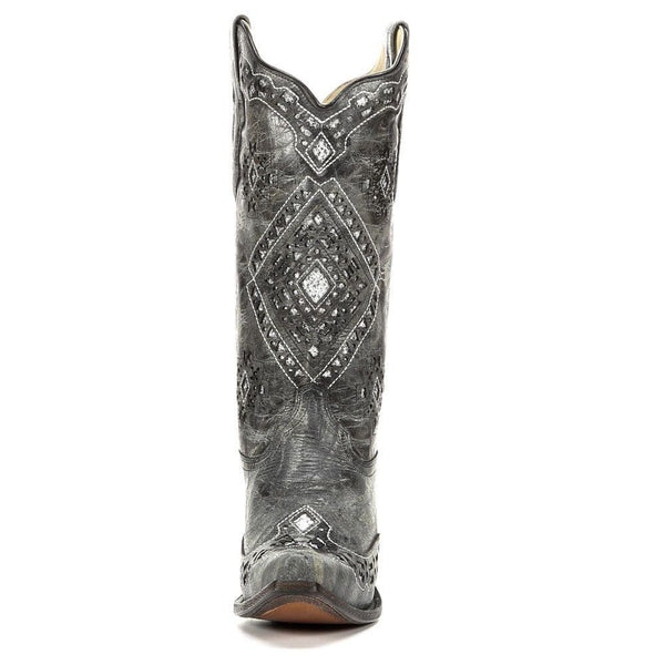 Corral Ladies Black and Silver Glitter Inlay Boots A2963 - Wild West Boot Store - 2