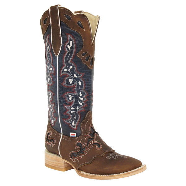 RockinLeather Ladies Tall Distressed Brown & Blue Underlay Boots 2127