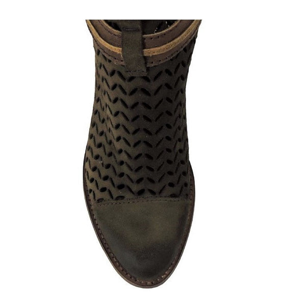 Circle G Ladies Olive Green Laser-Cut Suede Bootie P5125 - Wild West Boot Store