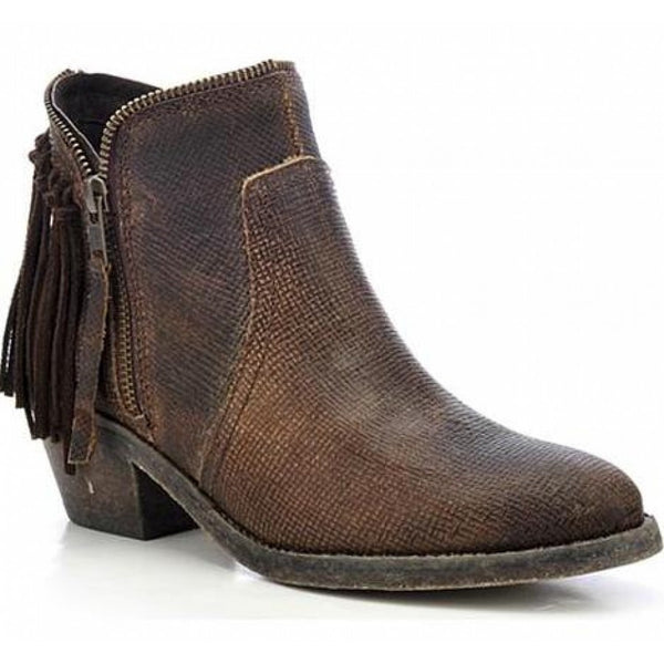 Circle G by Corral Ladies Brown Fringe Zip Up Ankle Boot P5121 - Wild West Boot Store