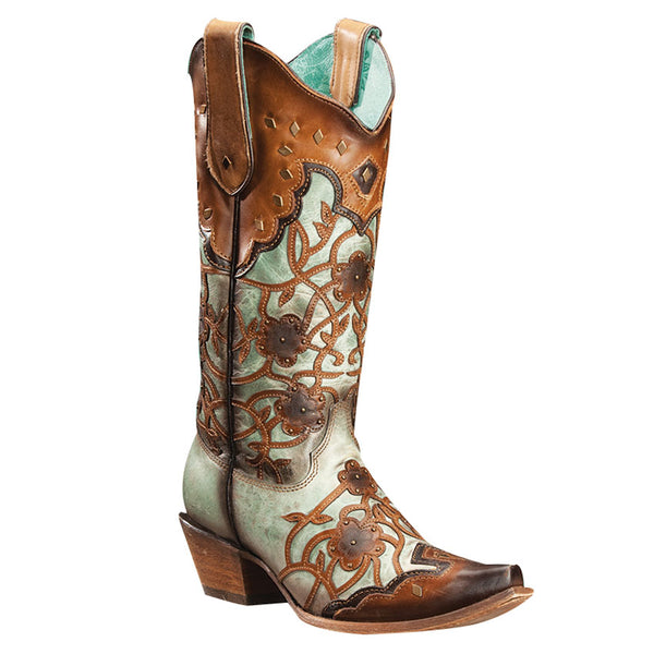 Corral Ladies Brown Mint/Maple Flowers Overlay & Studs C3176 - Wild West Boot Store