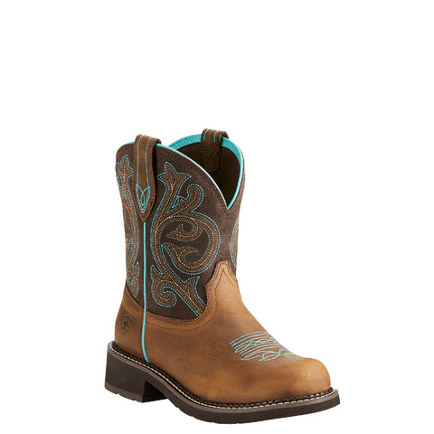 Ariat® Ladies Fatbaby Heritage Distressed Brown & Fudge Boots 10021462 - Wild West Boot Store