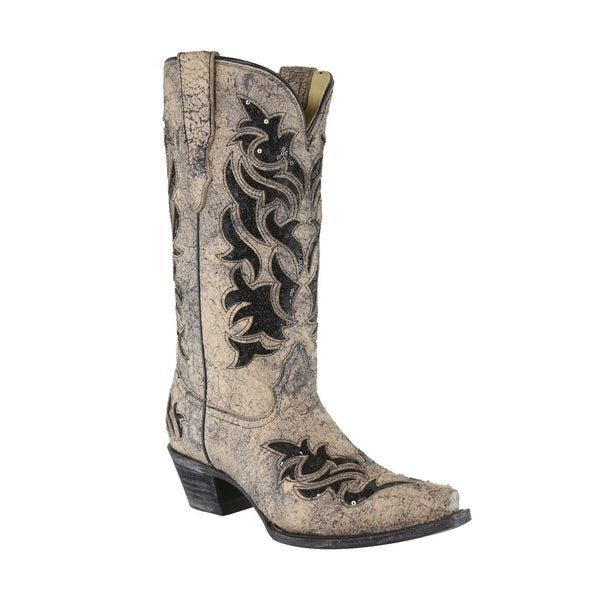 Corral Ladies Bone & Black Glitter Inlay Boots E1237 - Wild West Boot Store
