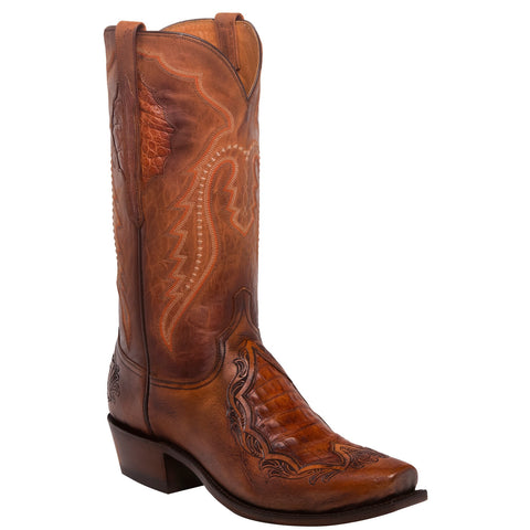 Lucchese Men's Bryson Peanut Brittle Caiman & Goat Boots N1163.73