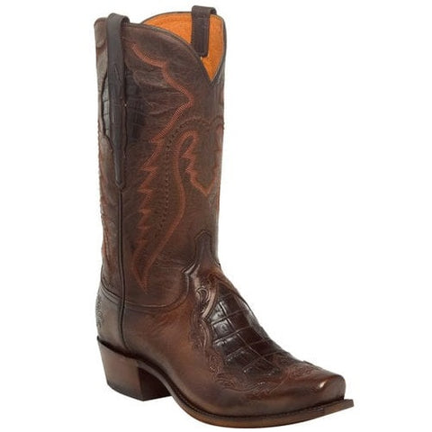 Lucchese Men's Bryson Chocolate Caiman Inlay & Goat Boot N1164.73 - Wild West Boot Store