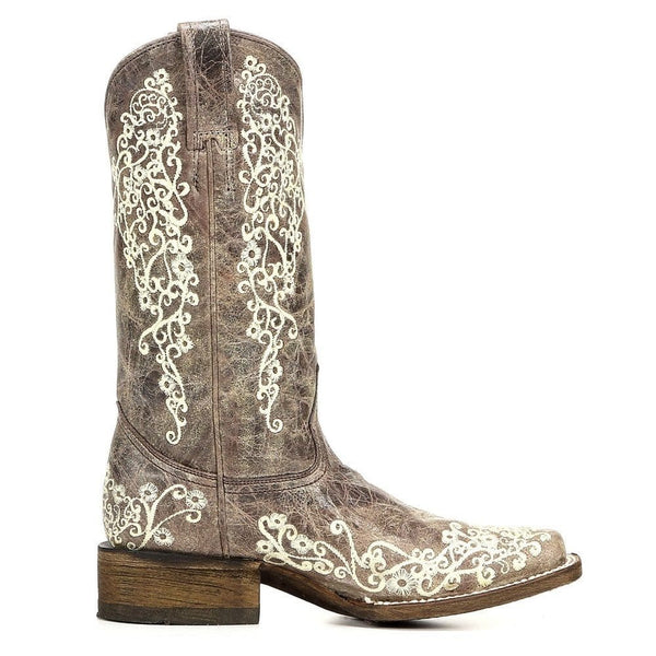 Corral Ladies Brown Crater Bone Embroidered Boots A2663 - Wild West Boot Store - 3