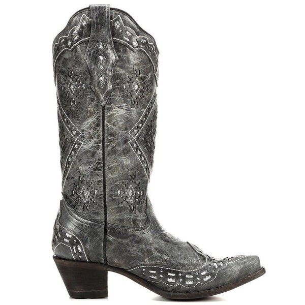 Corral Ladies Black and Silver Glitter Inlay Boots A2963 - Wild West Boot Store - 3