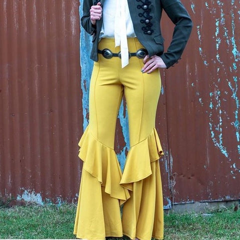 Turquoise Haven Ladies Mustard Ruffled Bell Bottoms 3524-MUS