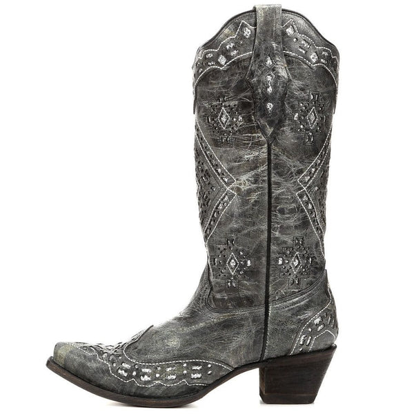 Corral Ladies Black and Silver Glitter Inlay Boots A2963 - Wild West Boot Store - 5