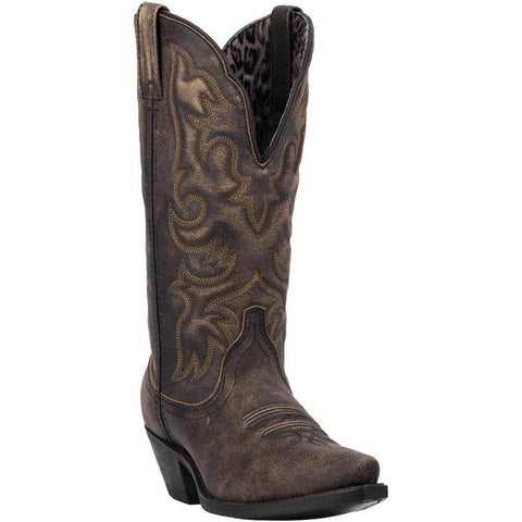 Laredo Ladies Access Black/Tan Goat Wide Calf Western Boot 51079