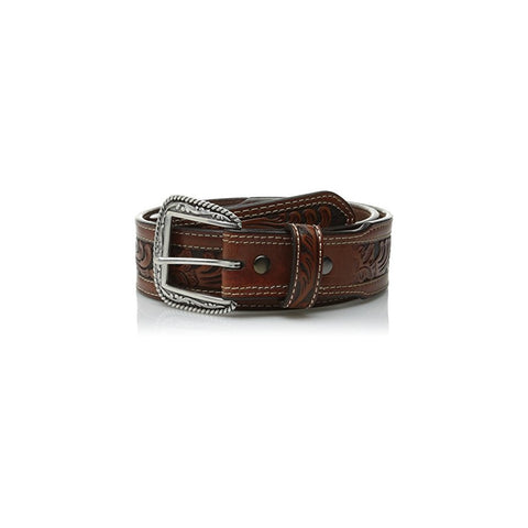 Ariat Mens Embossed Inlay Tan Leather Belt A1015008