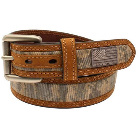 Ariat Men's Patriot USA Flag Patch Sage Green Digi-Camo Belt A1035028