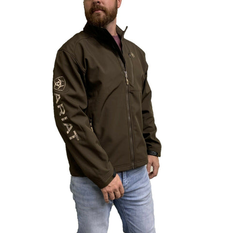 Ariat Men's Logo 2.0 Dark Brew with Camo Softshell Jacket 10028292