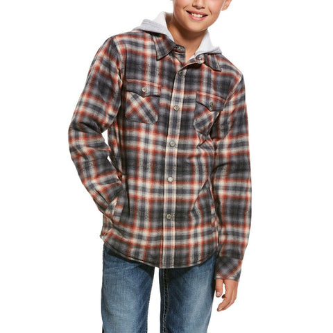 Ariat® Boy's Kemper Plaid Flannel Snap Hoodie Shirt Jacket 10027958