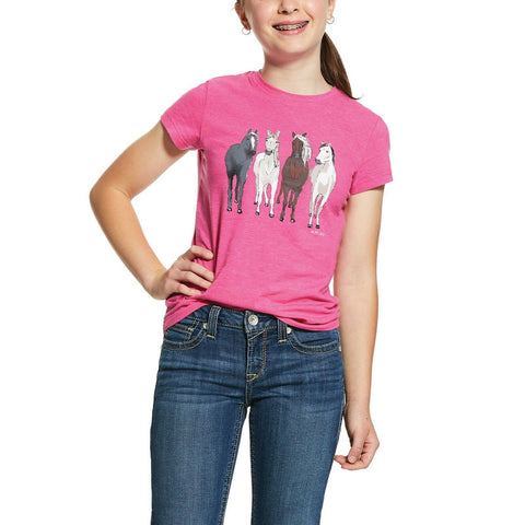 Ariat® Girl's 360 View Horses Beet Pink Heather T-Shirt 10030364
