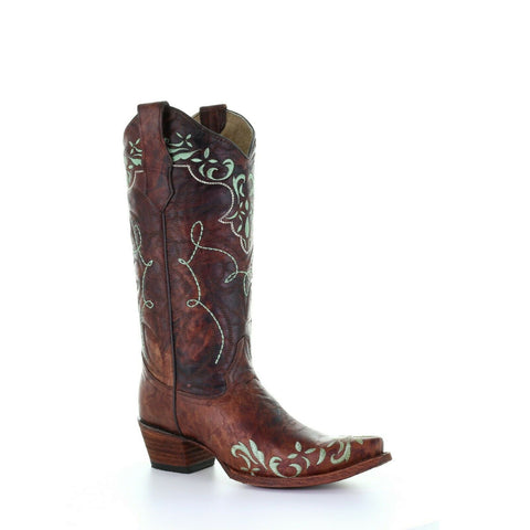 Circle G by Corral Ladies Brown Embroidery Boots L5493