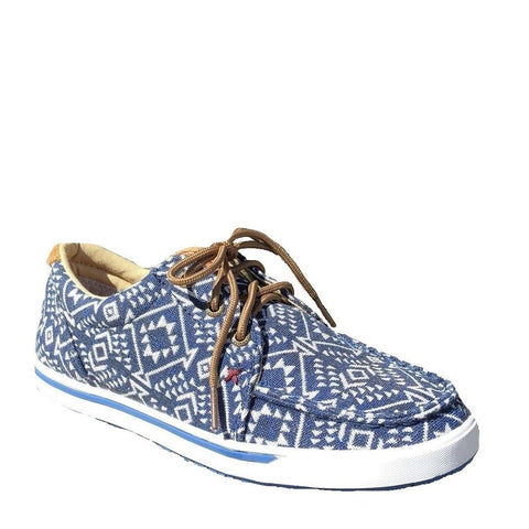 Twisted X Ladies Hooey Navy & White Geometric Pattern Lopers WHYC006